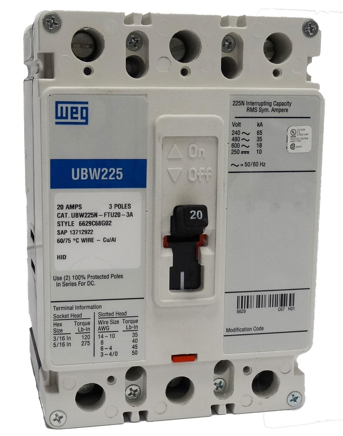 Weg Electric Ubw225n Ftu15 3a 15a 3p Circuit Breakers Large Stock Electrical Wiring Home Breaker Panel