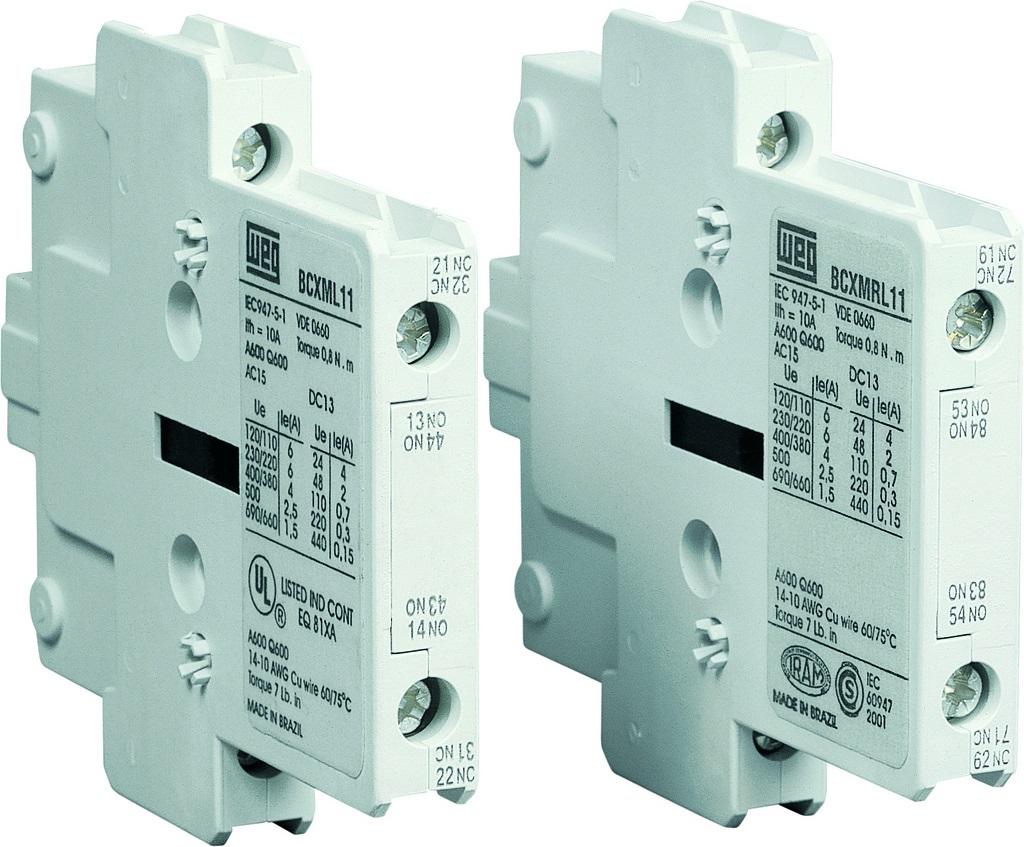 WEG Elecric BCXML11 CWM800, Auxiliary Contact (1-N/O - 1N/C) Side ...